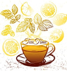 Ink hand drawn cup of herbal tea with lemon vector image