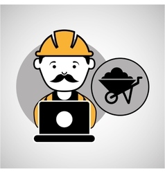 Under construction laptop worker wheelbarrow vector