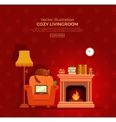 Cozy fireplace room interior vector