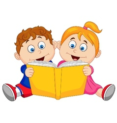 Children cartoon reading a book vector