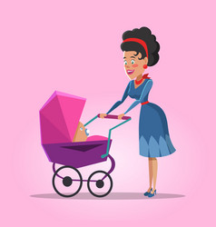 Young mother with newborn baby vector