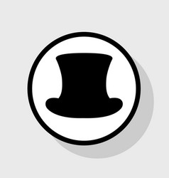 Top hat sign  flat black icon in white vector