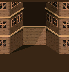Background sepia image realistic two buildings vector
