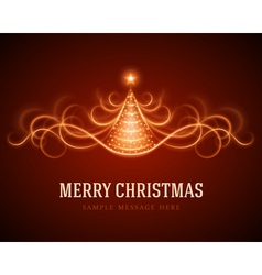 Christmas tree from light lines background vector