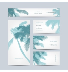 Set of business cards design palm tree vector