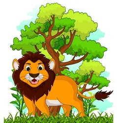 Lion cartoon with forest background vector