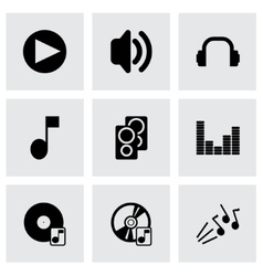 black sound icons set vector image