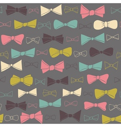 Cute seamless pattern of colored bows on gray vector