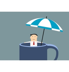 Businessman relaxing in a mug during break time vector