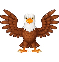 Cartoon bald eagle standing with wings extended vector