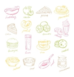 Handdrawn fast food and fruits vector