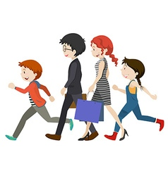 Adults and children walking vector image