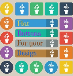 vase of flowers icon sign Set of twenty colored vector image