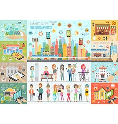 Smart city infographic set vector