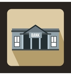 Bank building icon in flat style vector