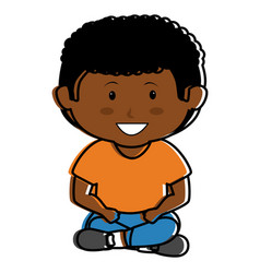 black little boy seated character vector image vector image