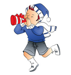 Boy blowing party horn blower vector