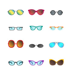 cartoon glasses and sunglasses color icons set vector image vector image