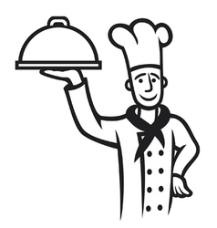 Chef with plate vector
