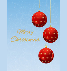 christmas card with red balls vector image vector image