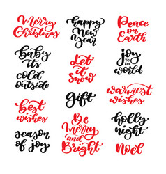 Christmas lettering set isolated vector