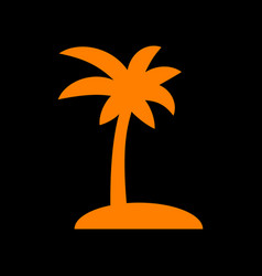 Coconut palm tree sign orange icon on black vector
