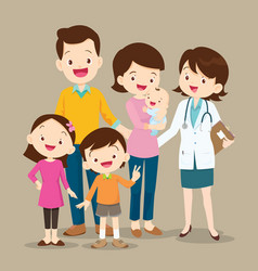 cute family with baby and woman doctor vector image vector image