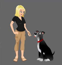 dog owner giving treat 2 vector image vector image