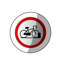 Dotted sticker with bicycle and parking area vector