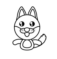 Fox animal toy outline vector