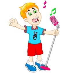 Funny little boy cartoon singing vector