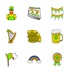 Ireland day icons set cartoon style vector