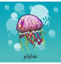 One spotted jellyfish on a celadon background vector