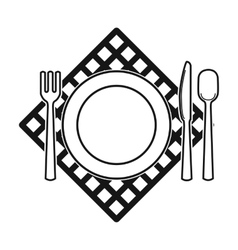 Picnic served table icon in black style isolated vector