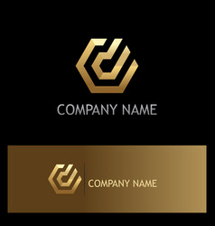 Polygon line technology gold logo vector