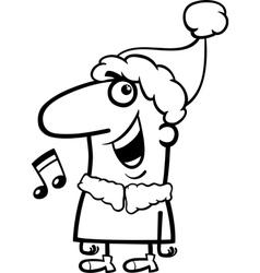 Santa singing carol coloring page vector