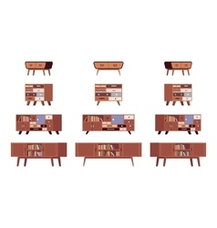 Set of standing bookshelves credenza vector