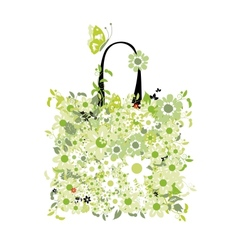 Shopping bag floral design vector image vector image