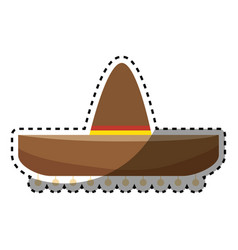 Sticker colorful traditional mexican hat design vector