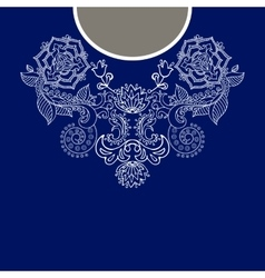Two colors ethnic flowers neck Paisley decorative vector image vector image