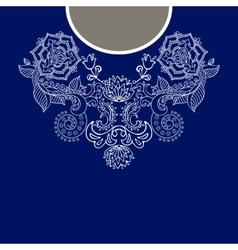 Two colors ethnic flowers neck paisley decorative vector