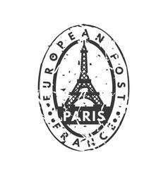 vintage postage paris mail stamp vector image