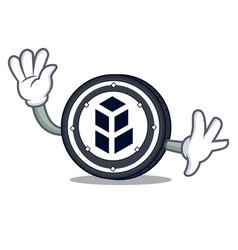 Waving bancor coin character cartoon vector