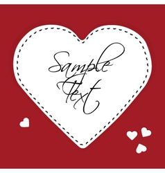 White paper heart on a red background vector image vector image