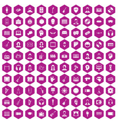 100 audience icons hexagon violet vector