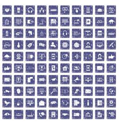 100 communication icons set grunge sapphire vector