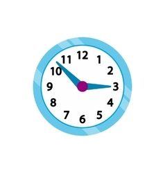 Wall clock with blue rim icon flat style vector