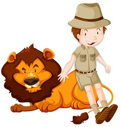 Zoologist and wild lion together vector