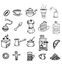 Hand-drawn outlines on coffee and tea cup cafe or vector