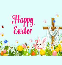 Easter egg hunt rabbit with cross greeting poster vector
